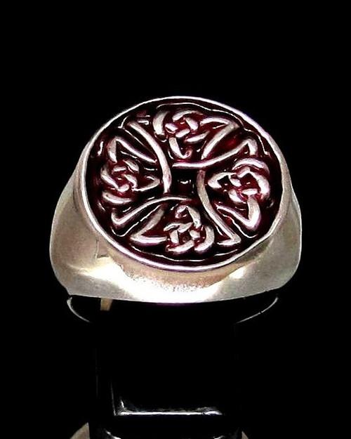 Sterling silver ancient symbol ring Birgit's Cross Celtic knot on Red enamel 925 silver