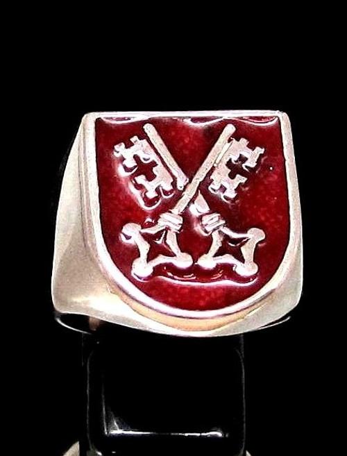 Sterling silver ring Medieval Skeleton Keys on Red enamel Shield high polished 925 silver