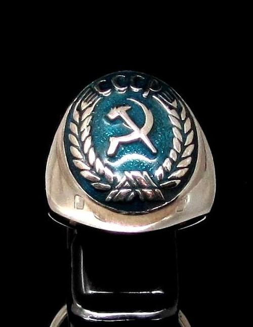 Sterling silver Flag ring Hammer and Sickle on Blue enamel Communism coat of arms CCCP high polished 925 silver