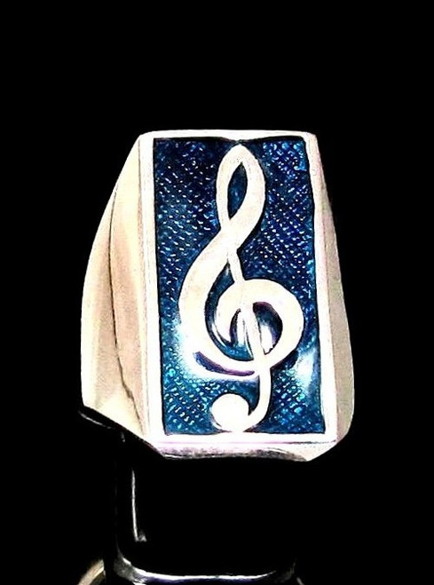Sterling silver Music symbol ring Clef note on Blue enamel high polished 925 silver men's ring