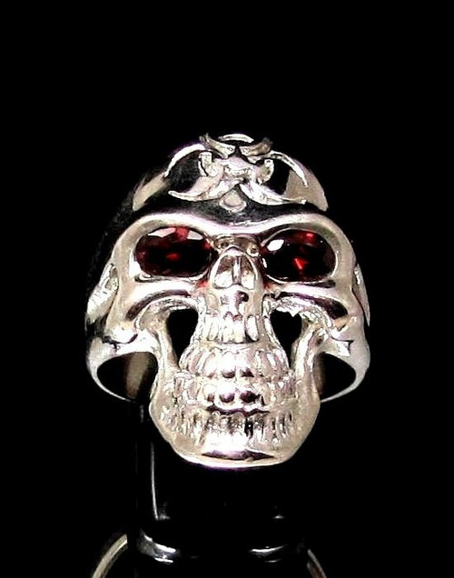 Sterling silver ring Grinning Skull with Red CZ Eyes Bio Hazard Toxic Waste Warning symbol high polished 925 silver