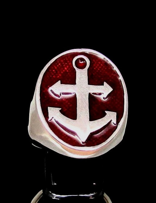 Oval Sterling silver men's Sailor ring Big Anchor Navy symbol with Red enamel 925 silver