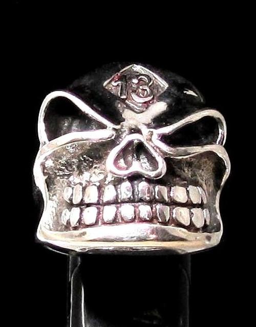 Shiny Sterling silver men's ring number 13 symbol on Grinning Bully Skull 925 silver