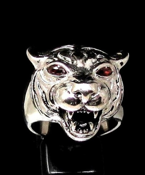 Sterling silver ring Tiger Wild Animal Predator with 2 fiery Red CZ Eyes high polished 925 silver