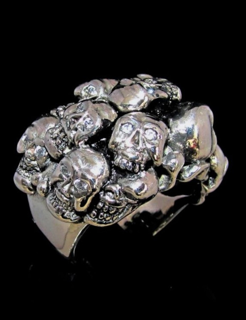 Sterling silver Skull ring 13 skulls with 26 sparkling white CZ Eyes high polished 925 silver