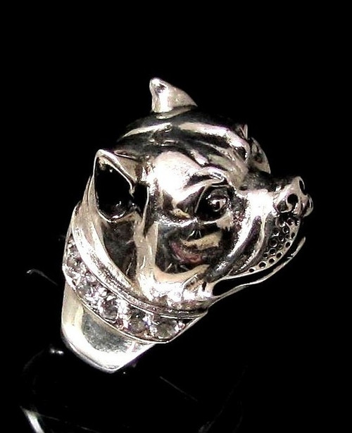 Sterling silver Animal ring Pit Bull Dog with a sparkling White CZ Collar high polished 925 silver