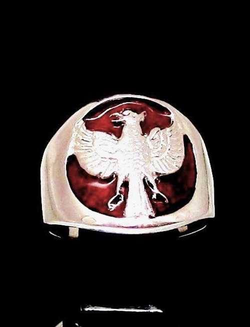 Sterling Silver ring Garuda Bird Hindu creature Indonesia flag on Red enamel high polished 925 silver