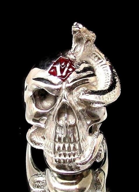 Sterling silver men's Biker ring 1% symbol on Snake Trough Eye Skull with Red enamel