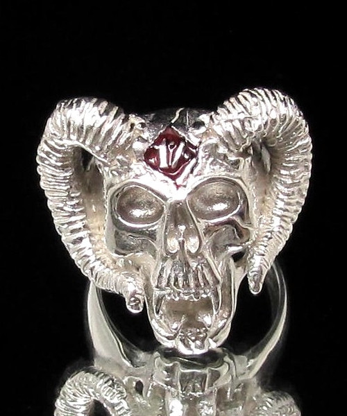 Sterling silver Skull ring 1 % Ram Horned Devil Skull with Red enamel high polished 925 silver
