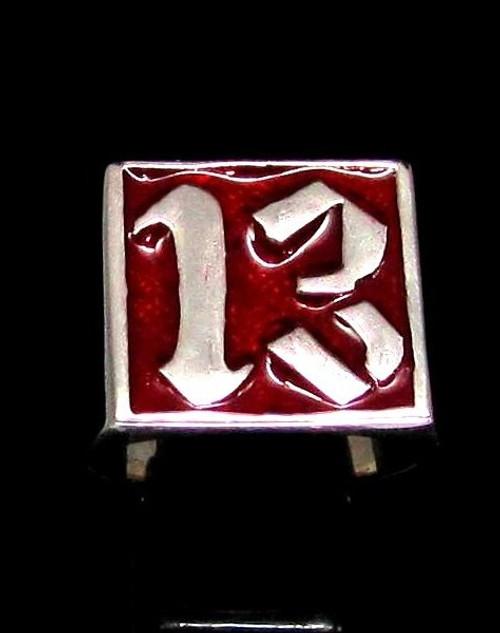 Sterling silver men's ring 13 Outlaw Biker symbol on Red enamel high polished 925 silver
