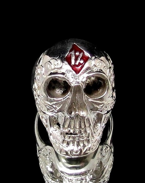 Sterling silver Biker ring 1 % Tattoo Outlaw Skull with Red enamel high polished 925 silver