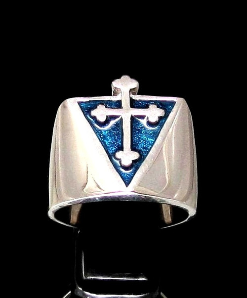 Sterling silver Medieval symbol ring Coptic Cross Christian Religion with Blue enamel high polished 925 silver