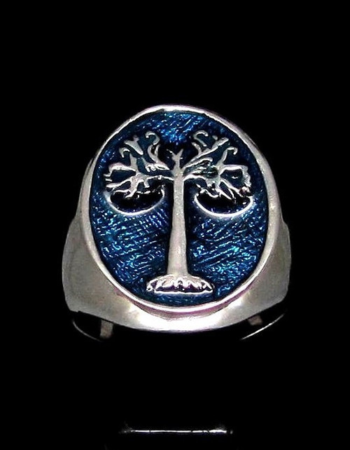 Sterling silver ancient symbol ring Tree of Life with Blue enamel high polished 925 silver