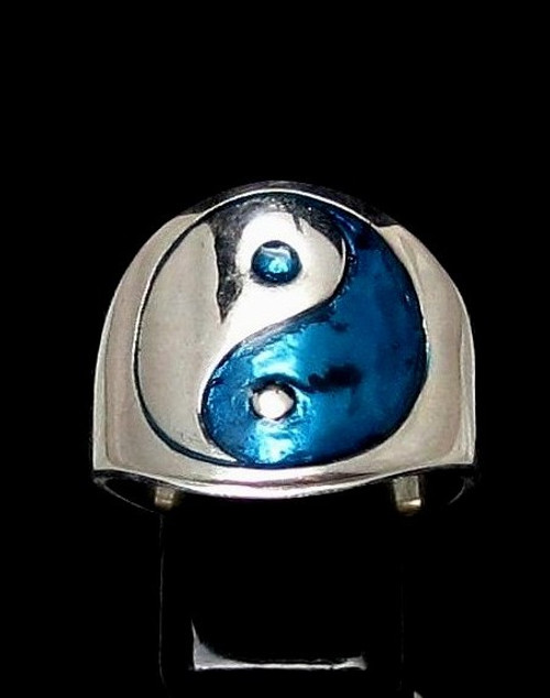 Sterling silver ring Yin Yang ancient Chinese philosophy with Blue enamel high polished 925 silver