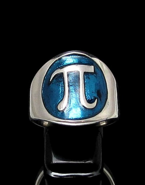 Sterling silver Mathematician symbol ring Pi ancient Greek letter with Blue enamel high polished 925 silver