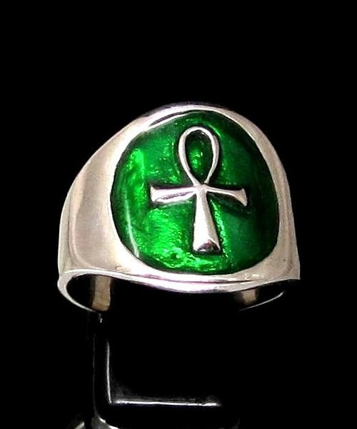 Sterling silver Ankh ring ancient Egypt Key of Life on Green enamel high polished 925 silver