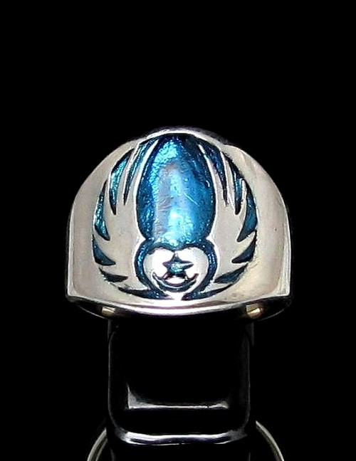 Sterling silver Celtic symbol ring Irish Claddagh Winged Heart and Star with Blue enamel high polished 925 silver