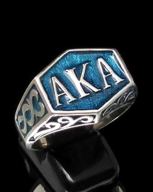 Sterling silver ring AKA Also Known As pseudonym with Blue enamel high polished 925 silver