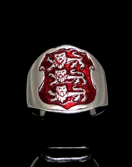 Sterling silver English Flag ring Three Lions coat of arms England on Red enamel Shield high polished 925 silver