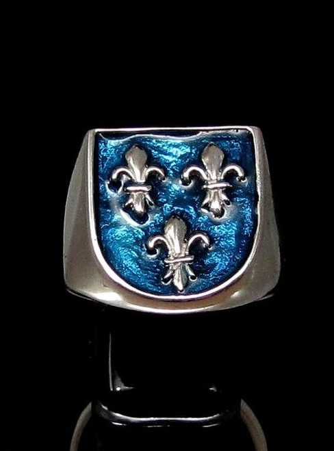 Sterling silver ring Fleur de Lys Royal coat of arms France 3 French Lily Flowers on Blue enamel shield 925 silver