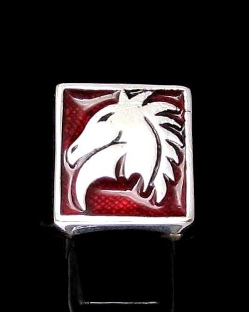 Sterling silver Chess symbol ring The Knight Horse with Red enamel high polished 925 silver men's ring