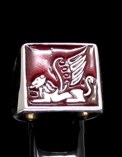 Sterling silver ring winged Lion Sphinx ancient symbol Iran Persia on Red enamel high polished 925 silver