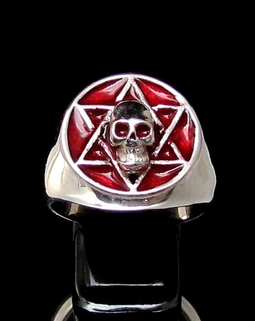 Sterling silver ring Skull on Hexagram Occult Star symbol with Red enamel high polished 925 silver