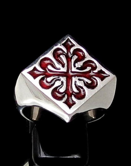 Sterling silver Medieval symbol ring Fleur de Lys French Lily Flower France with Red enamel 925 silver