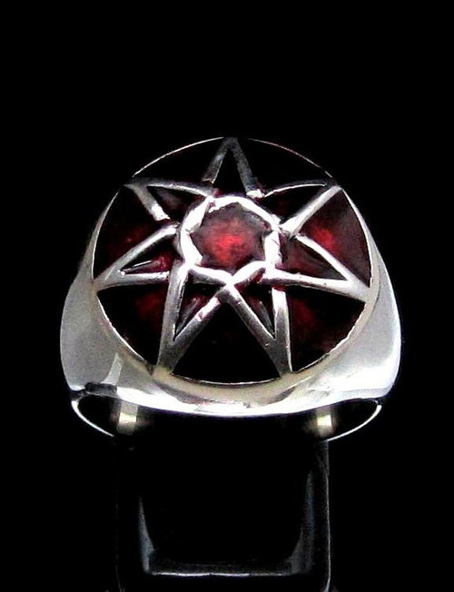 Sterling silver Wicca ring 7 Pointed Fairy Elven Star Heptagram on Red enamel dome high polished 925 silver