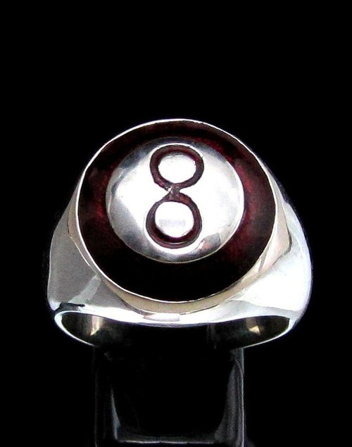 Sterling silver ring Black 8 Ball Pool Billiards with Red enamel on dome high polished 925 silver Pool player ring