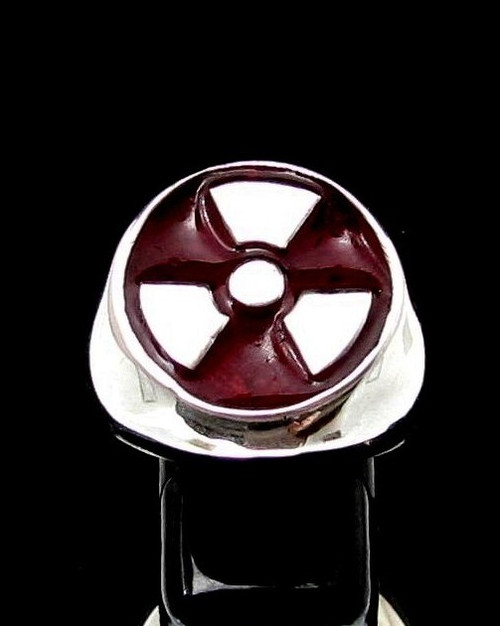 Sterling silver ring Trefoil Radioactive Warning symbol Nuclear Danger with Red enamel high polished 925 silver
