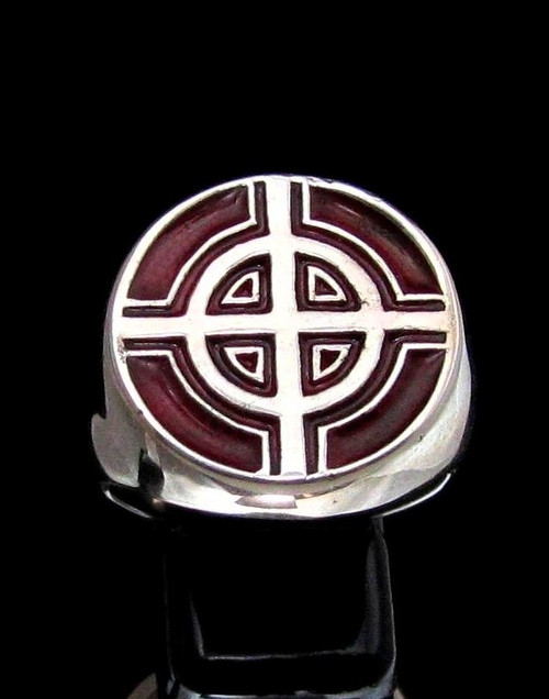 Sterling silver ancient symbol ring Celtic Ringed Cross medieval Ireland with Red enamel high polished 925 silver