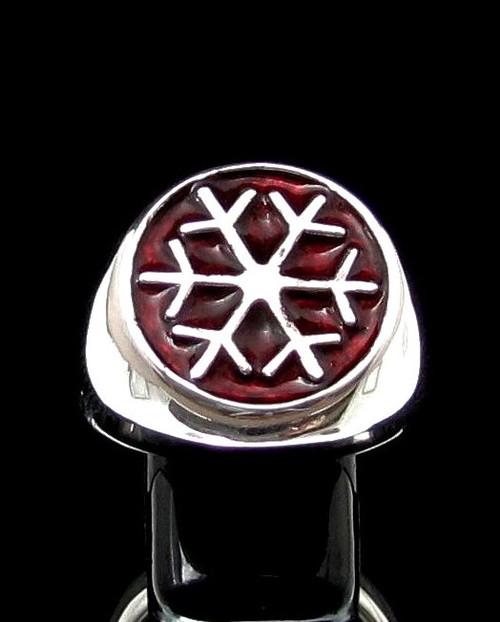 Sterling silver Symbol ring Snowflake Winter Sport Games with Red enamel high polished 925 silver