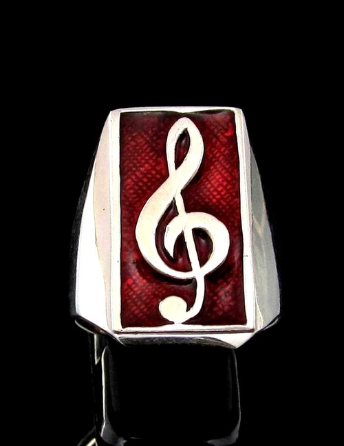 Sterling silver Music symbol ring Clef note on Red enamel high polished 925 silver men's ring