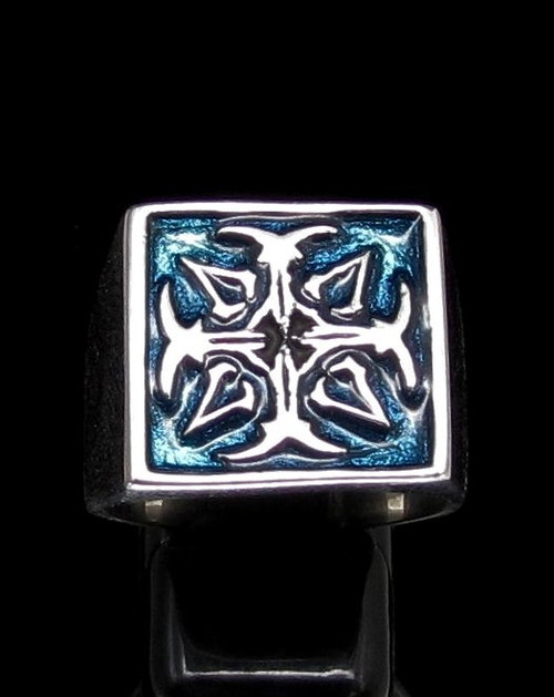 Sterling silver Assassin symbol ring Cross with Blue enamel high polished 925 silver