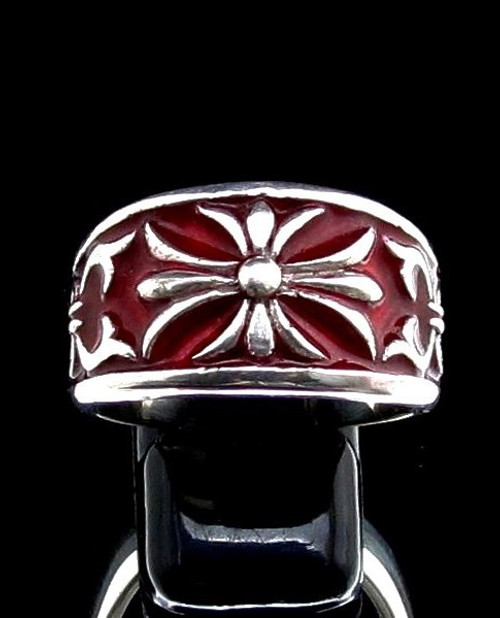 Sterling silver ring Fleur de Lis France Medieval symbol French Lily Flower with Red enamel high polished 925 silver