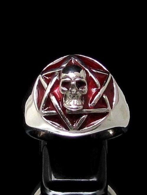 Sterling silver ring Hexagram Skull Occult Star symbol on Red enamel dome high polished 925 silver