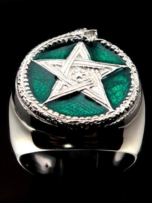 Sterling silver Wicca ring Ouroboros snake and Pentagram Alchemy symbol with Green enamel 925 silver
