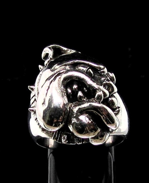 Sterling silver Bull Dog ring Breed Dog high polished and antiqued 925 silver animal ring