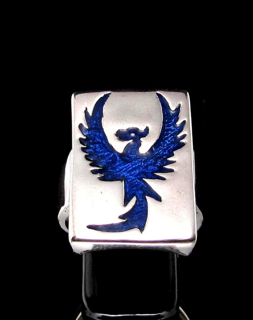 Sterling silver ring Phoenix mythical Animal Fire Bird Rising from the Ashes Feniks in Blue enamel high polished 925 silver