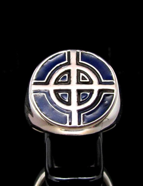 Sterling silver ancient symbol ring Celtic Ringed Cross medieval Ireland with Blue enamel high polished 925 silver
