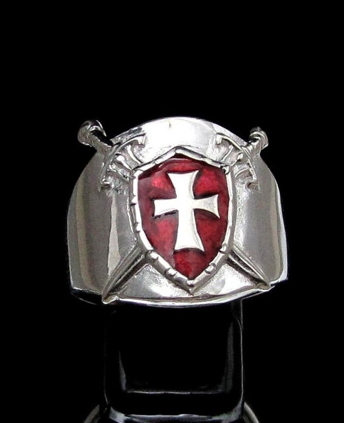 Sterling silver ring Knights Templar Cross on Shield and Crossed Swords with Red enamel high polished 925 silver