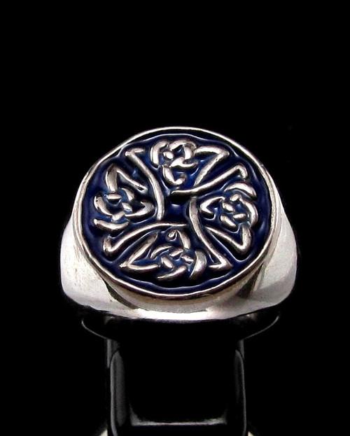 Sterling silver ancient symbol ring Birgit's Cross Celtic knot on Blue enamel high polished 925 silver