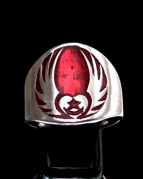 Sterling silver Celtic symbol ring Irish Claddagh Winged Heart and Star with Red enamel high polished 925 silver