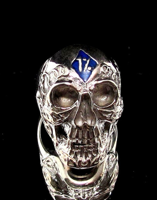 Sterling silver Biker ring 1 % Tattoo Outlaw Skull with Blue enamel high polished 925 silver men's ring