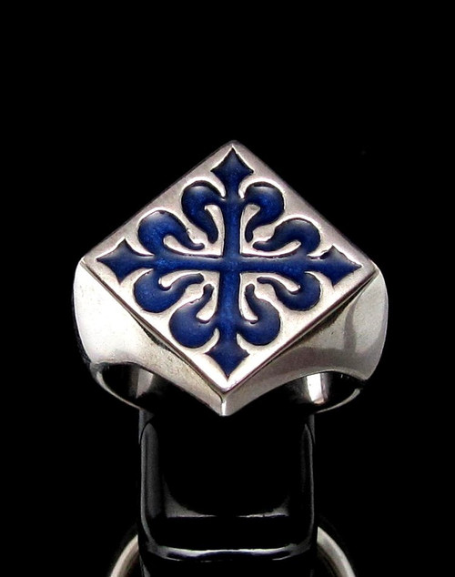Sterling silver Fleur de Lys ring French Lily Flower symbol France with Blue enamel high polished 925 silver