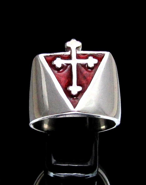 Sterling silver Coptic Cross ring medieval Christian Religion with Red enamel high polished 925 silver
