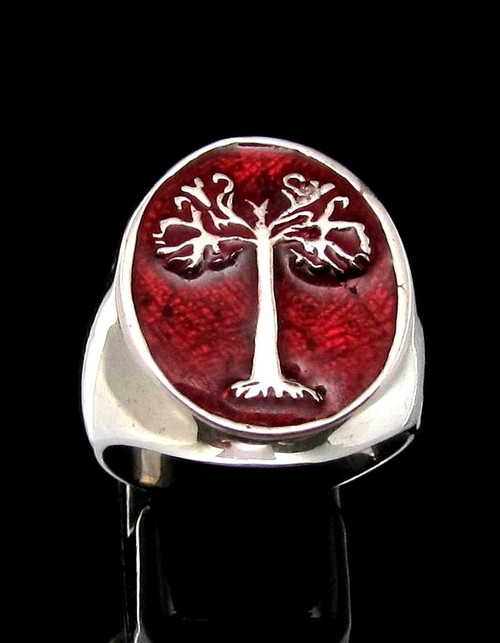 Sterling silver ancient symbol ring Tree of Life with Red enamel high polished 925 silver