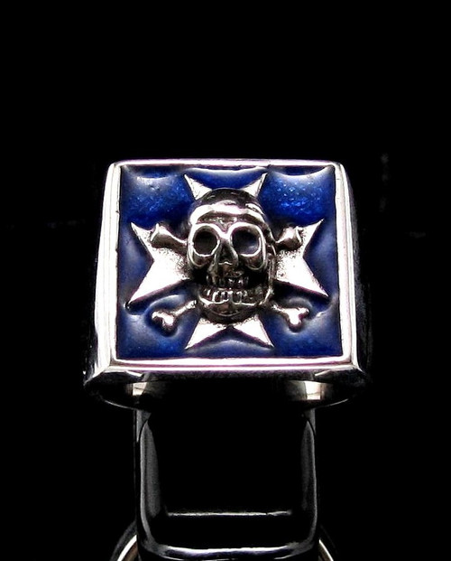 Sterling silver medieval ring Maltese Cross and Skull with Blue enamel high polished 925 silver men's ring