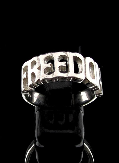 Sterling silver Letter ring Freedom 1 word Bold letters high polished 925 silver word ring
